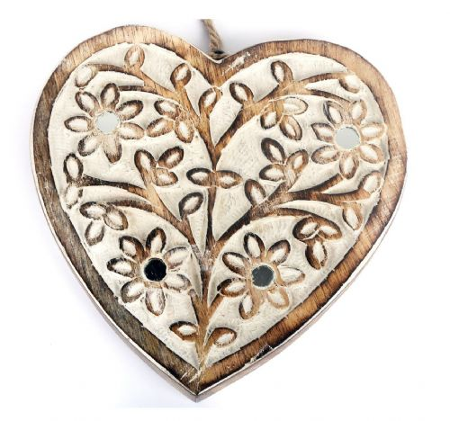 Flower Mirror Hanging Wooden Heart Decoration